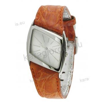 Ρολόι Roberto Cavalli ανδρικό-γυναικείο στρογγυλό με μπορντό δερμάτινο λουράκι 30mm