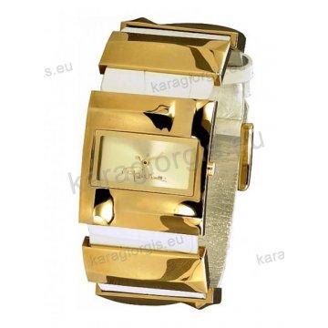 Ρολόι Roberto Cavalli γυναικείο τετράγωνο επίχρυσο με άσπρο δερμάτινο λουράκι 23*30mm