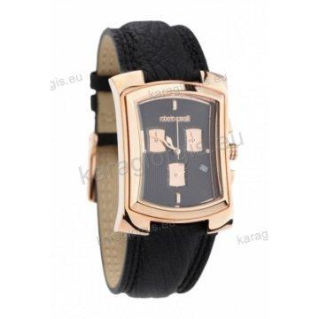 Ρολόι Roberto Cavalli ανδρικό-γυναικείο τετράγωνο rose gold χρονογράφος με μαύρο δερμάτινο λουράκι 31*38mm