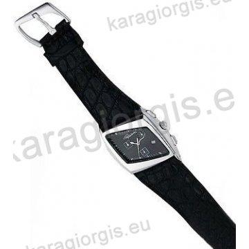 Ρολόι Roberto Cavalli ανδρικό-γυναικείο τετράγωνο χρονογράφος με μαύρο δερμάτινο λουράκι 32*40mm