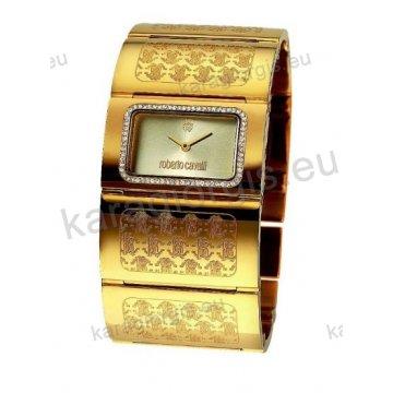 Ρολόι Roberto Cavalli γυναικείο τετράγωνο επίχρυσο με μπρασελέ 40*22mm