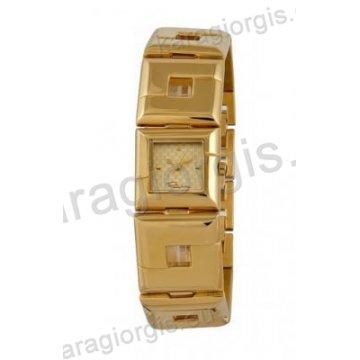 Ρολόι Roberto Cavalli γυναικείο επίχρυσο τετράγωνο με μπρασελέ 21mm