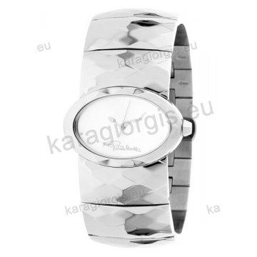 Ρολόι Roberto Cavalli γυναικείο οβαλ ασημί καντράν με μπρασελέ 25*35mm