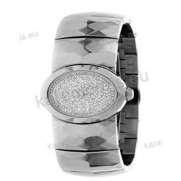 Ρολόι Roberto Cavalli γυναικείο οβαλ πέτρες στο καντράν με μπρασελέ 25*35mm