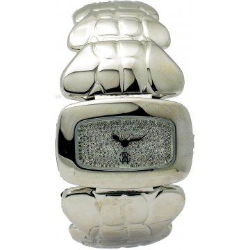 Ρολόι Roberto Cavalli γυναικείο τετράγωνο πέτρες στο καντράν με μπρασελέ σε βραχιόλι 38*25mm