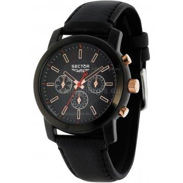 Ρολόι SECTOR χρονογράφος με μαύρο δερμάτινο λουράκι 43mm