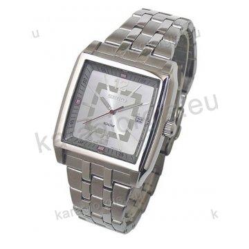 Ρολόι SEIKO ανδρικό τετράγωνο με μπρασελέ και ένδειξη ημερομηνίας 40mm