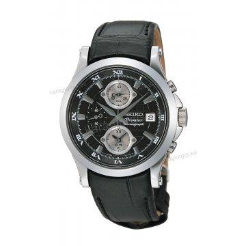 Ρολόι SEIKO PREMIER ανδρικό στρογγυλό με μαύρο δερμάτινο λουράκι χρονογράφο ακριβείας και ένδειξη ημερομηνίας 40mm
