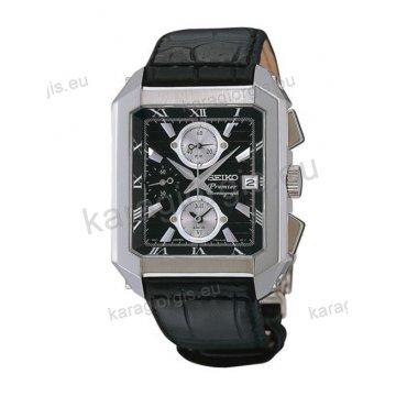 Ρολόι SEIKO PREMIER ανδρικό τετράγωνο με μαύρο δερμάτινο λουράκι χρονογράφο ακριβείας και ένδειξη ημερομηνίας 35*47mm
