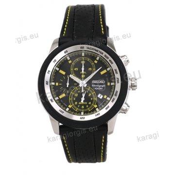 Ρολόι SEIKO ανδρικό στρογγυλό με μαύρο δερμάτινο λουράκι χρονογράφο ακριβείας και ένδειξη ημερομηνίας 48mm