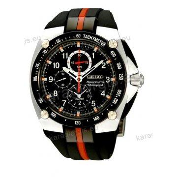 Ρολόι SEIKO SPORTURA ανδρικό στρογγυλό με μαύρο-κόκκινο λουράκι σιλικόνης στεφάνη με ταχύμετρο(tachymeter) χρονογράφος ακριβείας και ξυπνητήρι(alarm) 42mm