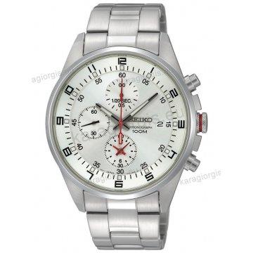 Ρολόι SEIKO ανδρικό στρογγυλό με μπρασελέ χρονογράφο ακριβείας και ένδειξη ημερομηνίας 43mm