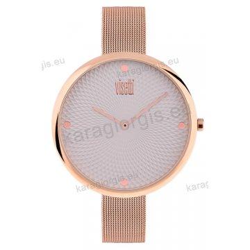 Ρολόι VISETTI γυναικείο με ψάθα μπρασελέ σε rose gold με γκρι καντράν 43mm