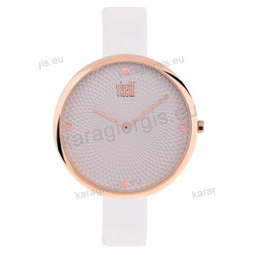 Ρολόι VISETTI γυναικείο με άσπρο δερμάτινο λουράκι σε rose gold με γκρι καντράν 43mm