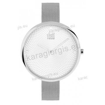 Ρολόι VISETTI γυναικείο με ψάθα μπρασελέ σε νίκελ με γκρι καντράν 43mm