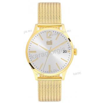 Ρολόι VISETTI γυναικείο με ψάθα μπρασελέ σε χρυσό με ασημί καντράν 40mm