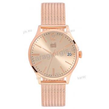 Ρολόι VISETTI γυναικείο με ψάθα μπρασελέ σε rose gold με ρόζ καντράν 40mm