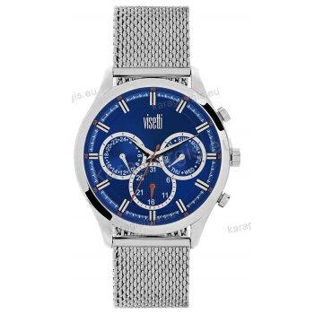Ρολόι VISETTI ανδρικό με ψάθα μπρασελέ χρονογράφος multifunction σε μπλέ καντράν 43mm
