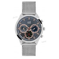 Ρολόι VISETTI ανδρικό με ψάθα μπρασελέ χρονογράφος multifunction σε μαύρο rose gold καντράν 43mm