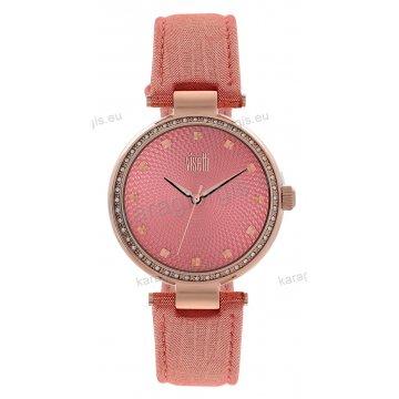Ρολόι VISETTI MAGNOLIA γυναικείο rose gold με πέτρες στη στεφάνη ροζ δερμάτινο λουράκι και ροζ καντράν 36mm