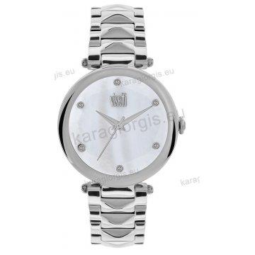 Ρολόι VISETTI MELROSE γυναικείο νίκελ μπρασέλε με άσπρο καντράν 36mm