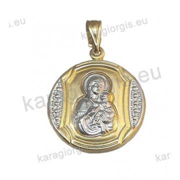 Παναγίτσα - φυλακτό Κ9 δίχρωμο χρυσό με λευκόχρυσο διπλής όψεως με το Χριστιανικό σύμβολο IC.XC.NIKA στην πίσω πλευρά