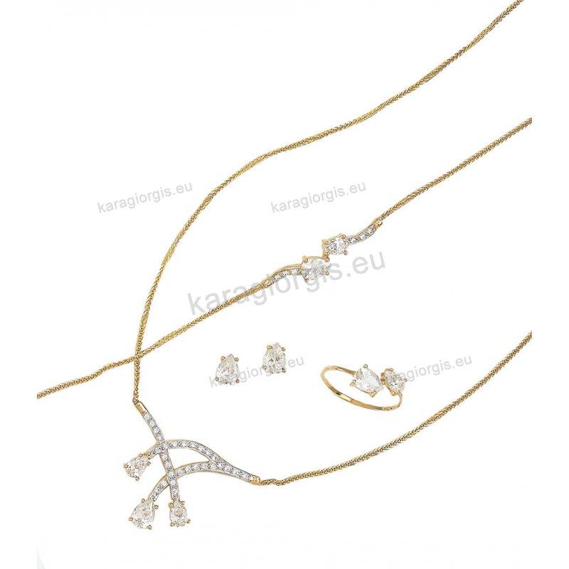 ZIT28 Σετ δίχρωμο χρυσό με λευκόχρυσο για αρραβώνα ή γάμο κολιέ ... bc34aa7d1a5
