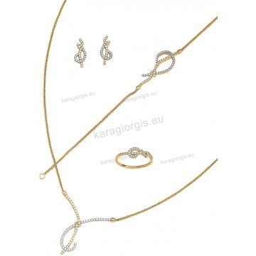 Σετ δίχρωμο χρυσό με λευκόχρυσο Κ14 κολιέ b446f282d38