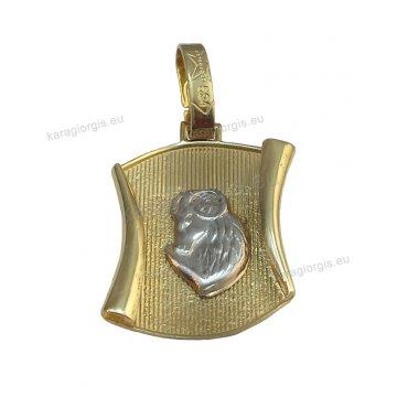 Ζώδιο Κριός λευκόχρυσο δίχρωμο σε χρυσό γραμμωτό πλακάκι σε σχήμα πάπυρου