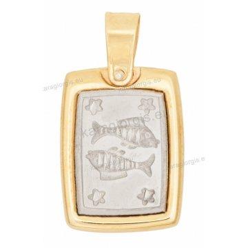 Ζώδιο ιχθείς δίχρωμο χρυσό με λευκόχρυσο ανάγλυφο