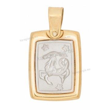 Ζώδιο αιγόκερος δίχρωμο χρυσό με λευκόχρυσο ανάγλυφο διπλής όψεως με κωνσταντινάτο