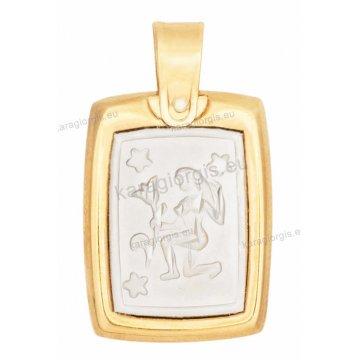 Ζώδιο παρθένος δίχρωμο χρυσό με λευκόχρυσο ανάγλυφο διπλής όψεως με κωνσταντινάτο